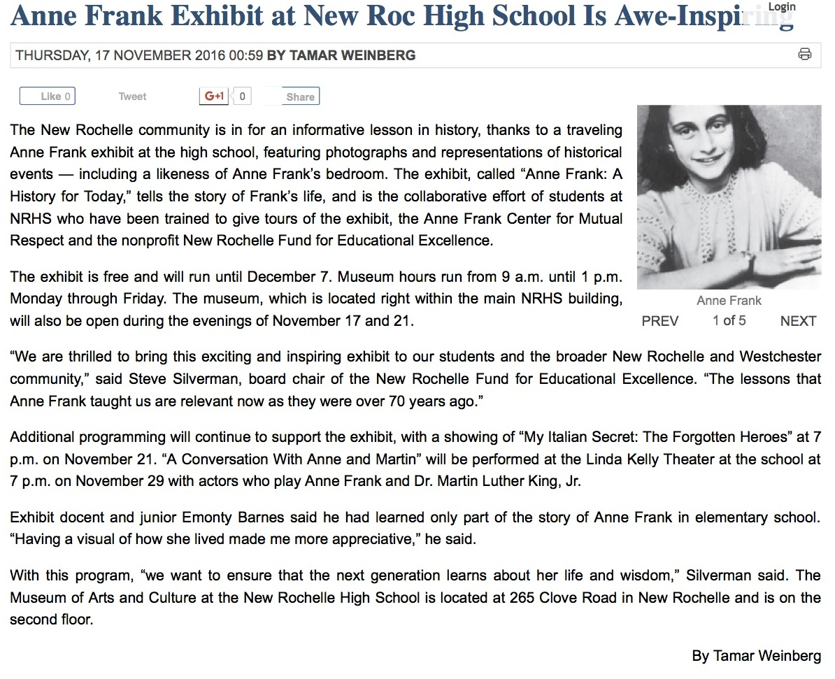 Anne Frank Exhibit at New Roc High School Is Awe-Inspiring